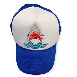 Mother trucker blue white shark hat OS